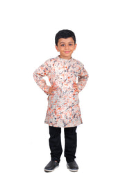 Boys's Cotton Multi Digital Print Kurta & Black Churidar Pyjama Set