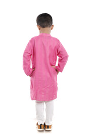 Pink Benarasi Silk Kurta Pyjama Set for Boys