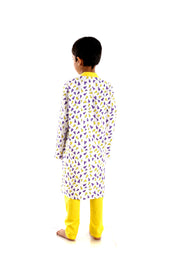 Purple and Yellow Paper Rockets Printed Cotton Kurta Pyjama Set for Boys