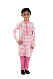 Swarovski Embellished Pink Square Cotton Kurta Pyjama Set for Boys