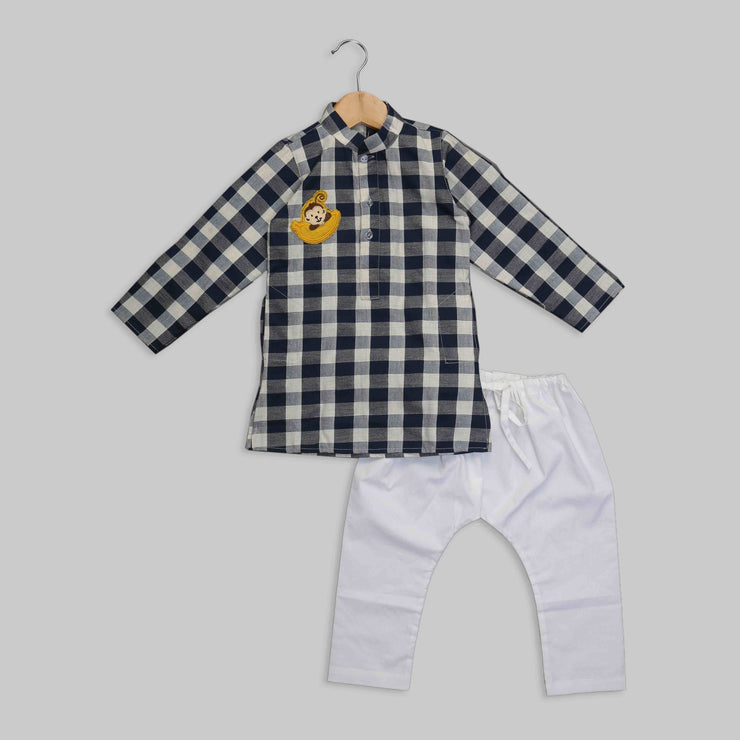 Monkey Motif White and Blue Squares Cotton Kurta Pyjama Set for Boys