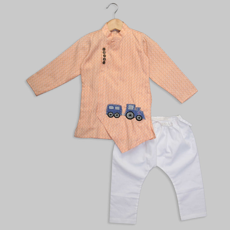 Train Motif Peach Asymmetric Kurta with Cotton Pyjama for Boys