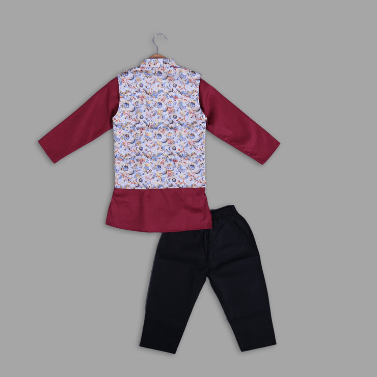 White Printed Jacket with Maroon Cotton Kurta Pyjama Set for Boys