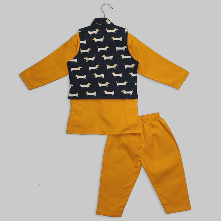 Blue Printed Jacket with Mustard Cotton Kurta Pyjama Set for Boys