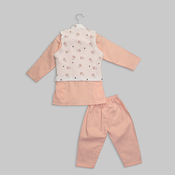 White Printed Jacket with Peach Cotton Kurta Pyjama Set for Boys