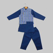 Blue Kurta and Pyjama Set With Blue and White Jacket