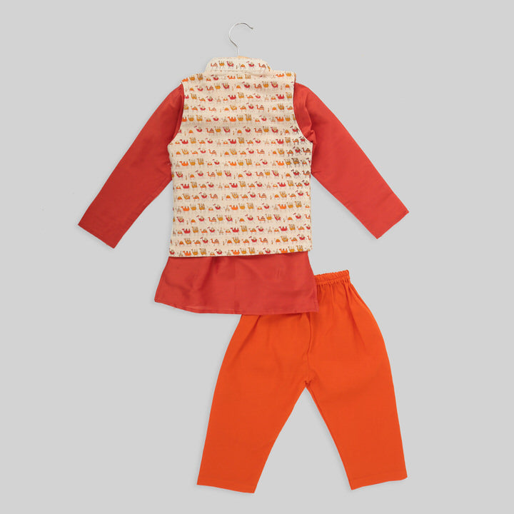 Cotton And Silk Orange And Beige Kurta And Jacket With Orange Pyjamas