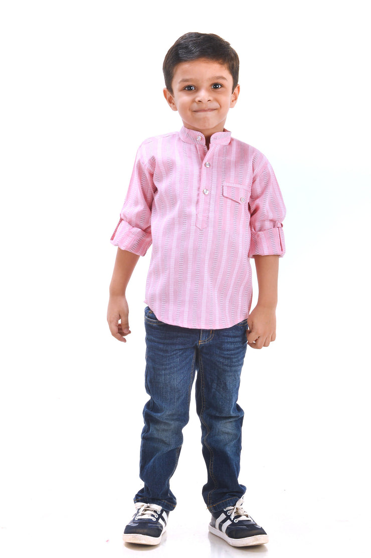 Pink N White – Boys Kurta Shirt