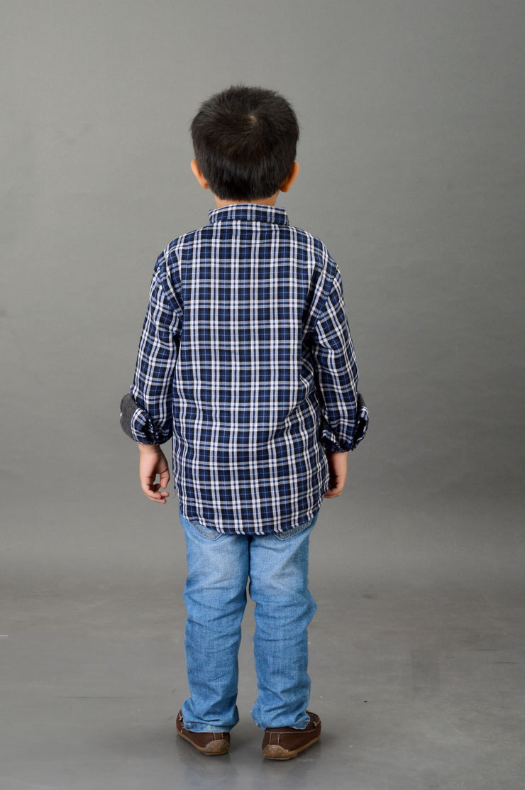 Blue Chequered, Boy's Kurta Shirt