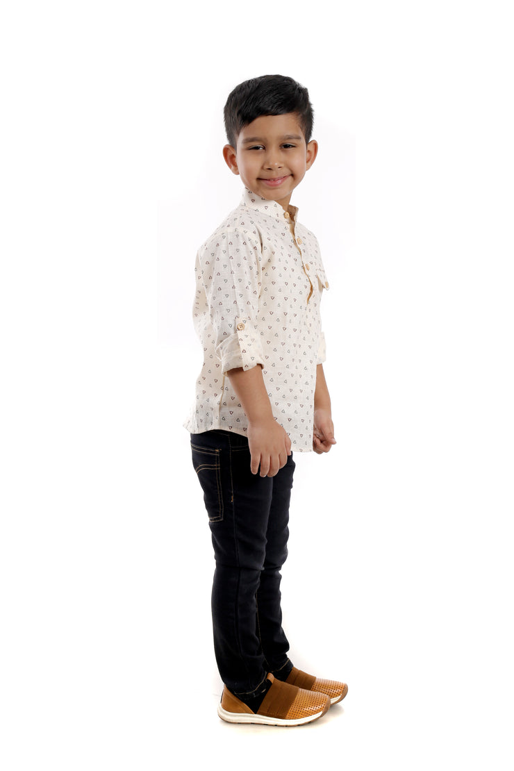 The Soothing Yellow Printed Kurta Shirt For Boys