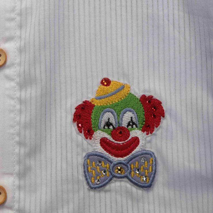 Full-Sleeved Mandarin Collared White Shirt made from Giza Cotton with Embroidered Motif of Swarovski Crystals