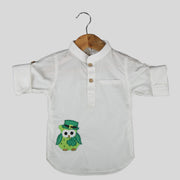 Giza Cotton White Casual Shirt For Boys with Owl Motif