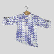 White And Blue Casual Cotton Shirt For Boys With Asymmetrical Hemline