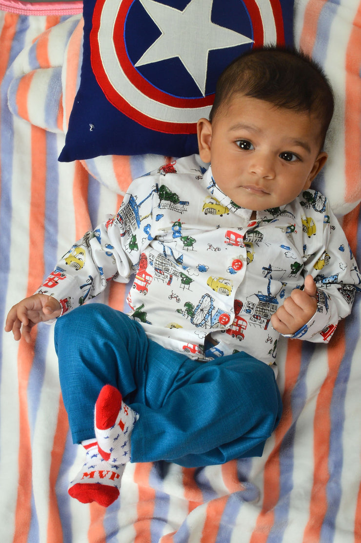 Printed Full-Sleeves Shirt And Blue Pant Set - Formal Set for Infant Boys