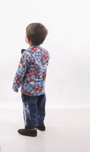 Funky Blues Casual Pant And Shirt For Boys