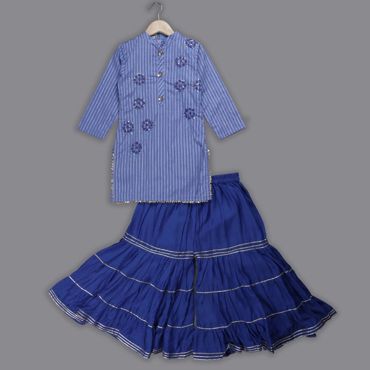 Blue Cotton Kurti and Blue Muslin Sharara Set for Girls