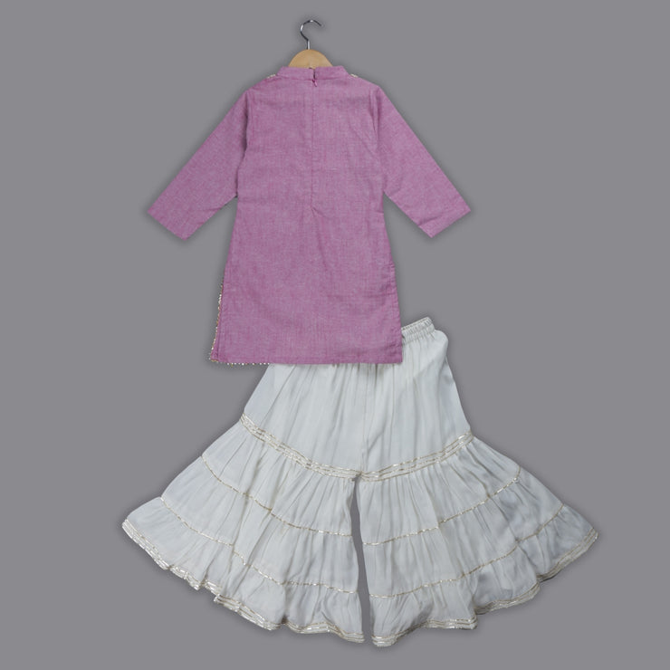 Pink Cotton Kurti and White Muslin Sharara Set for Girls