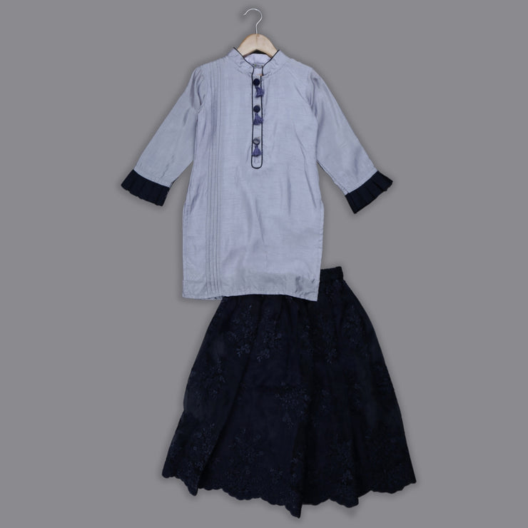 Grey Silk Kurti and Emroidered Organza Skirt Set for Girls