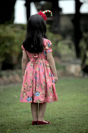 Red Crepe Puff Sleeves Skater Frock with a Bow