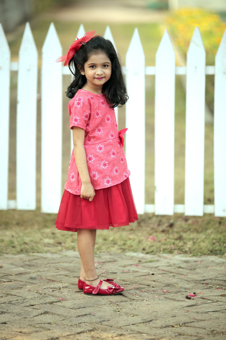 Red Cotton Frock with Bow
