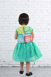 Green Georgette Skater Frock with Ludo Print Jacket
