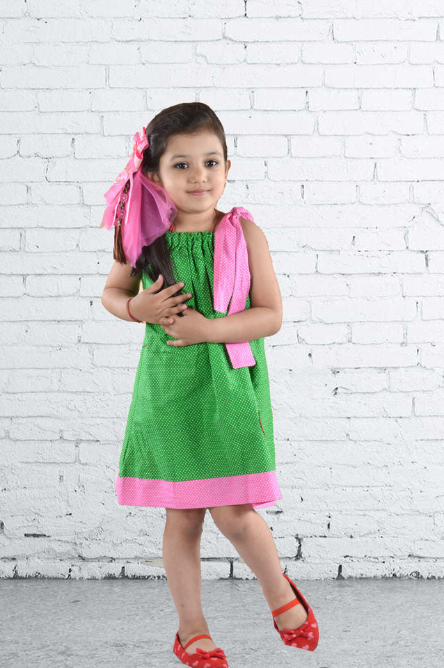 Green and Pink Retro Cotton Frock with Pink Shoulder Straps