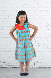 Blue and Red Cotton Frock For Girls With Bird Print