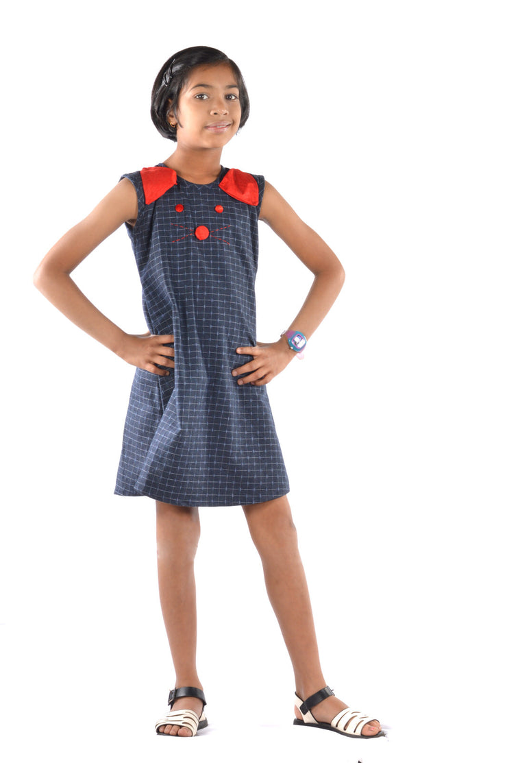 Black Cotton A-Line Frock for girls