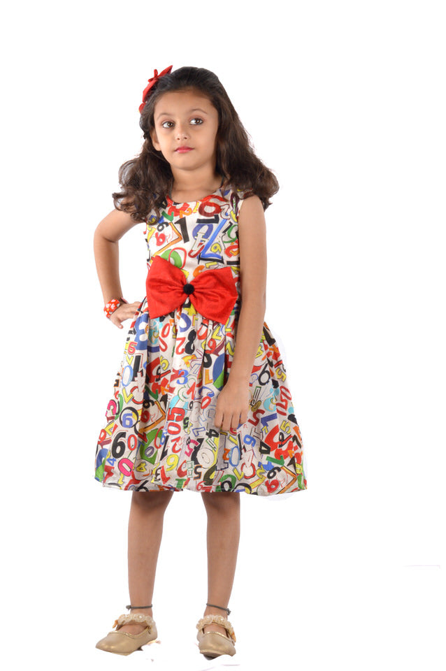 Multicoloured Modal Silk Sleevelss Skater Frock with a Red Bow