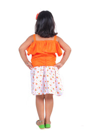 Orange Flouncy Crop Top and Skirt Set