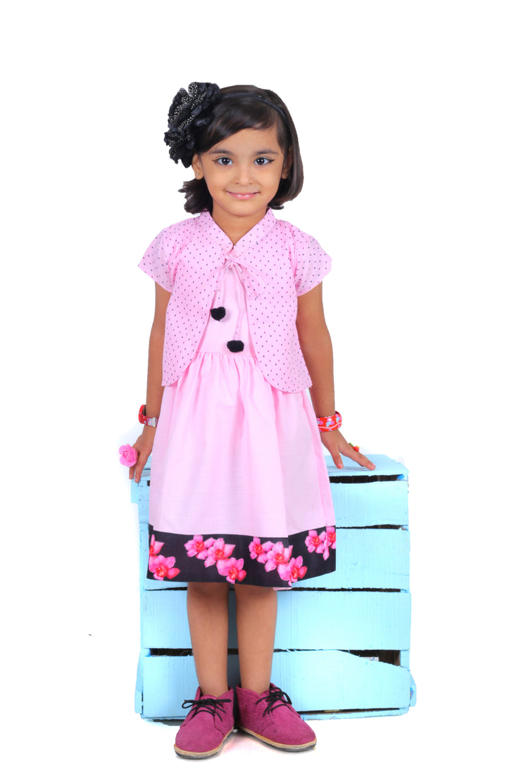 Pink Frock with Short Jacket Set
