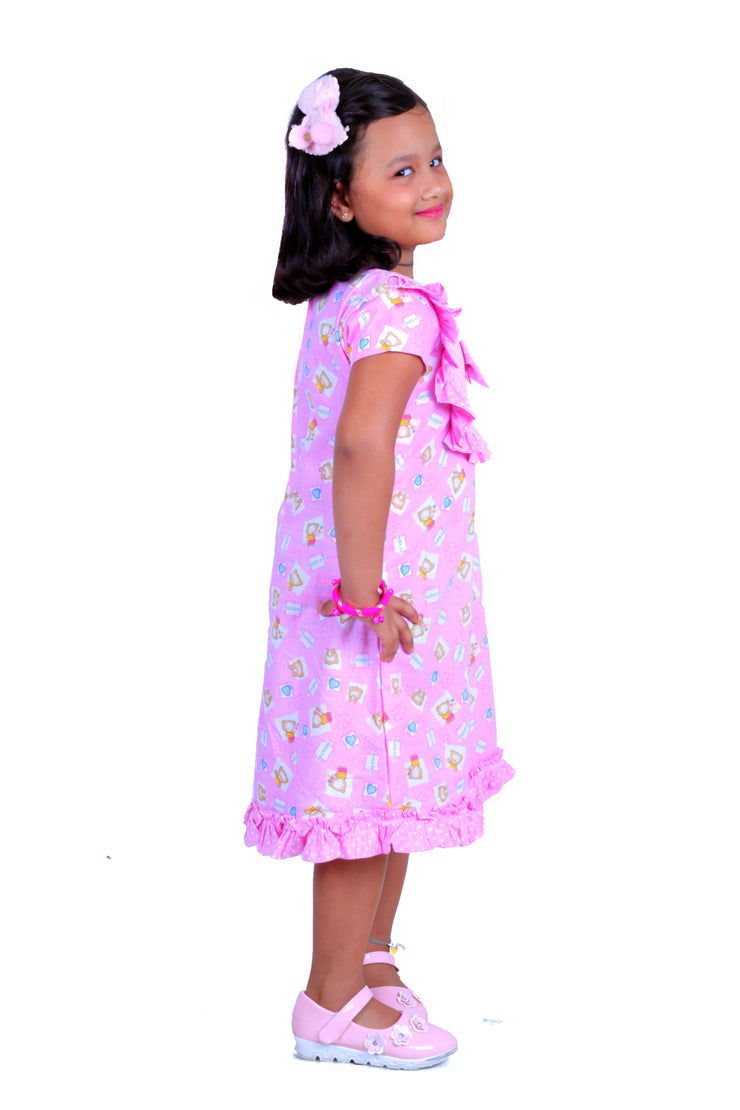 The Pink Teddy Bear Casual Frock For Girls