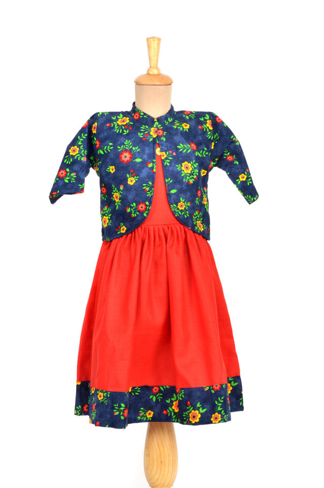 Red Cotton Frock with Blue Corduroy Jacket