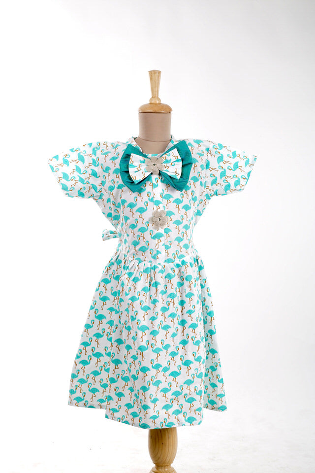 White and Green Cotton Skater Frock with Flamingo Print