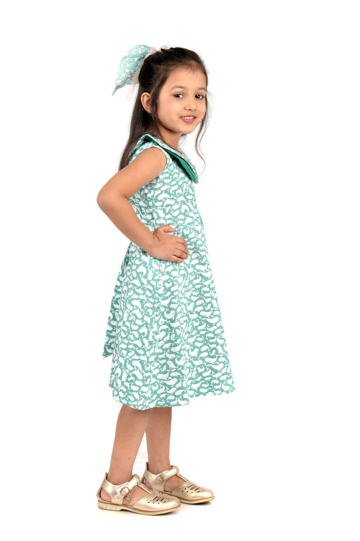 Cotton Dolphin Print Frock for Girls