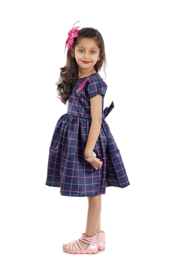 Navy Blue Polyester Satin Skater Frock with an Icecream Motif