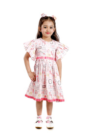 Pink Cotton Frock with Flared Sleeves