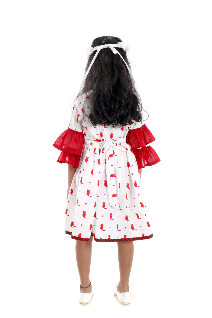 The Cat Print Double Bell-Sleeve Frock for Girls