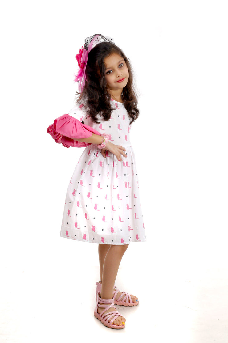 Pink and White Cotton Frock with Cat Print