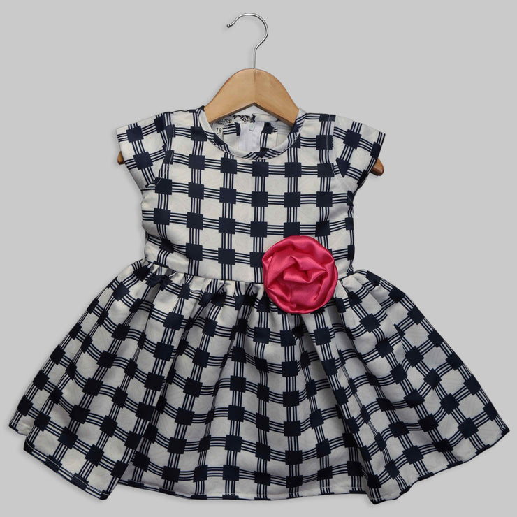 Blue and White Checkered Frock with a Rose