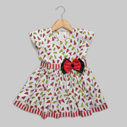 White Printed Frock with Black and Red Bow