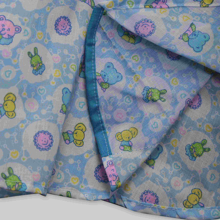 Blue Cotton Printed Frock with Rainbows, Teddy Bears and Rabbits