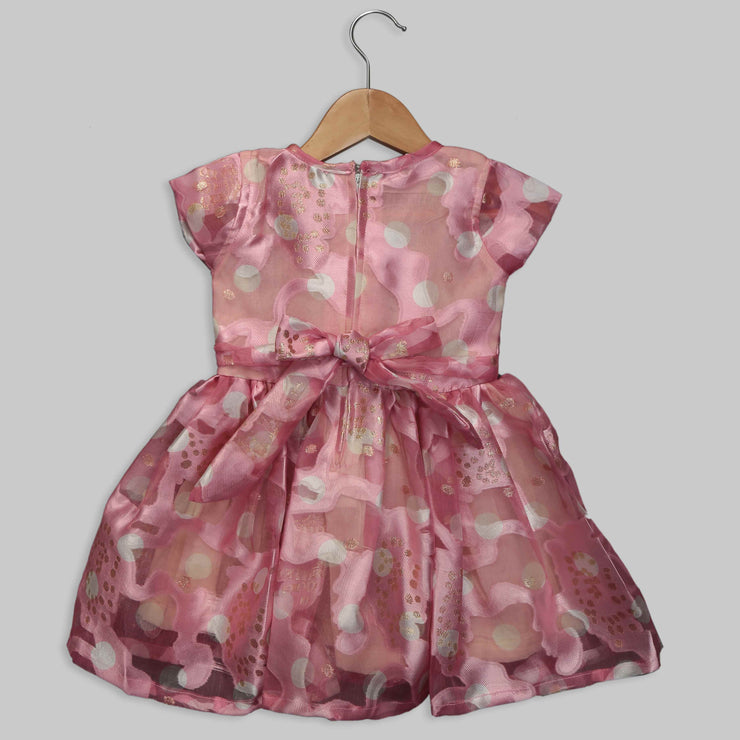 Pink Organza frock with little white bow