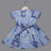 Blue Cotton Frock with Bow