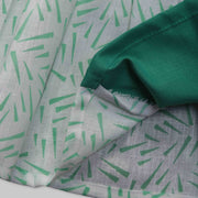 Green and White Cotton Frock with Green Bow