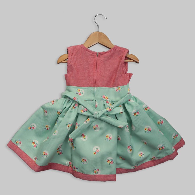 Green and Pink Polyester Satin Frock
