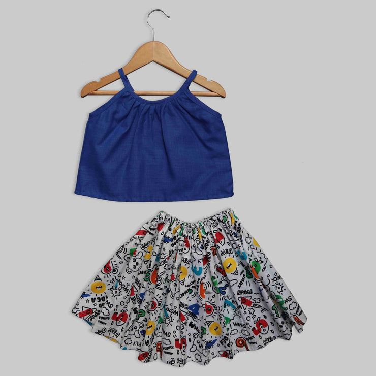 Blue and White Cotton Tee and Skirt