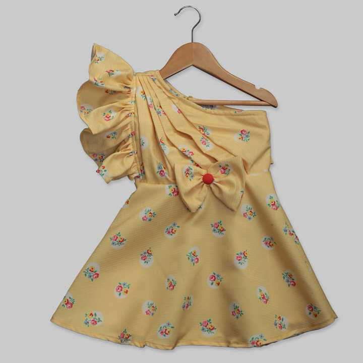 Yellow Polyester Satin Skater Frock with an Exposed Shoulder and Ruffles