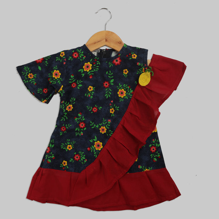 Blue and Red Corduroy Frock with a Red Sash and Pineapple Motif