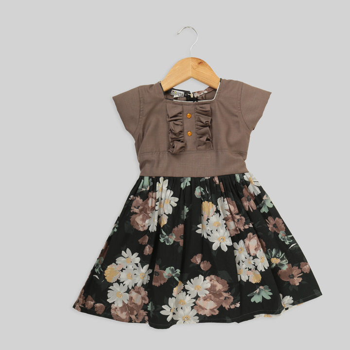 Brown And Black Cotton Skater Frock For Girls